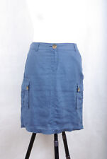 L181/DM Osborne Blue Hypoallergenic Linen Pencil Combat Cargo Mini Skirt size 10