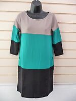 DRESS GREEN BLACK AND BEIGE SIZE 6/8 COLOUR BLOCK TUNIC BNWOT  G039