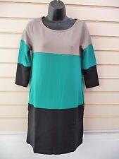 DRESS GREEN BLACK AND BEIGE SIZE 6/8 COLOUR BLOCK TUNIC BNWOT