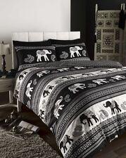 Black Empire Elephant Print Double Duvet Cover Bed Set Inc. Pillowcases