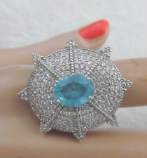 ELEGANT STERLING RING W, BLUE TOPAZ STONE SURROUNDED BY CZ CLEAR STONES  SIZE 8
