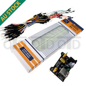 MB102 830 Point Arduino Solderless PCB Breadboard + 65pcs Wires + Power Supply