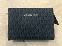 Michael Kors Jet Set small Pouch Cosmetic Makeup Bag Leather clutch logo blue
