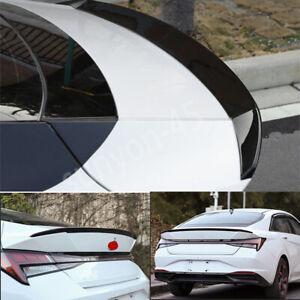 FOR Hyundai Elantra 2021 2022 shiny black Rear Tail Trunk Spoiler Wing Lip Trim