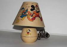"DISNEY1930'sSORENG MANEGOLD""MICKEY MOUSE TIN LAMP+HAND PAINTED""3 CHARACTER""SHADE"