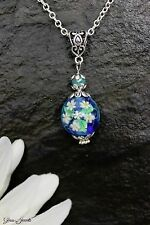 Glass Jewels Schöne Kette Halskette Lampwork Perle Blume Blüte Blau #MA040