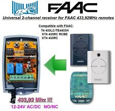 FAAC 433LC, TE4433H, XT4 433RC, RCBE compatible universelle 2-canaux Récepteur