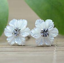 925 Sterling Silver Mother of Pearl Snowflake Flower Crystal Stud Earrings Gift