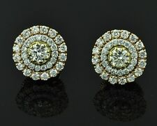 18k Solid White gold Natural Diamond Earring Jacket Halo Stud 0.95 ct three rows