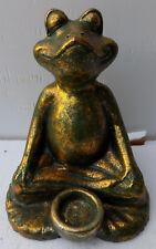 Grenouille porte bougie céramique yoga cm 18x19x20h argenté vert or soutien
