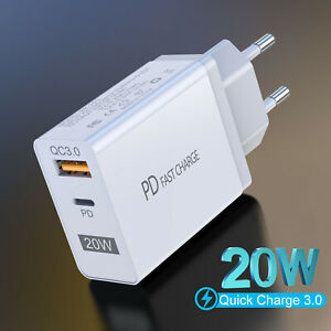 QC3.0 PD 20W Fast Quick Charge USB Type-C Wall Charger Adapter For iPhone 13 12