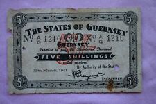 More details for states of guernsey five shillings 5/-d  25th mar 1941 ag1210 german occupation