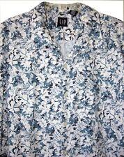 Gap XL Hawaiian Shirt Blue & White Straight Hem