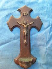 BENITIER 1900 BRONZE ET BOIS / STOUP BRONZE & WOOD religiosa Christ