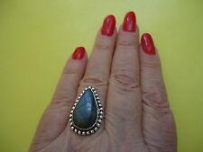 925 Sterling Silver Overlay Ring W Big Labrador  Gemstone Size - 7,5      #R81.