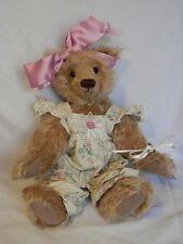 """14"""" Bear Blessings """"Kaylee""""~Artist Sandra Knapp Light Brown Bear w/Floral Jumper"""