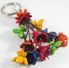 Colorful Bunch Charm Flower Genuine Leather Key Chain Purse Handbag Handmade New