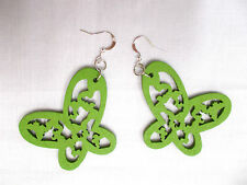 NEW GREEN CUT OUT OPEN WING BUTTERFLY SILHOUETTE WOODEN DANGLING INSECT EARRINGS