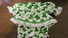 "Green Top Hats/Shamrocks Print Dress/bloomers, fits 10"" Lots to Love Berenguer"