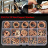 150 Pcs Solid Copper Washers Seal Flat Ring Hydraulic Fittings Washers Kit w/Box