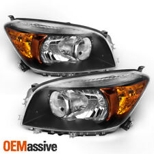 [Black] Fits 2006 2007 2008 Toyota Rav4 LH + RH Side Headlights Front Lamps Pair