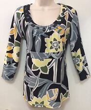 R-Q-T, S Casual 3/4 Sleeve Multicolor Floral Poly/Spandex Scoop Neck Tunic/Top