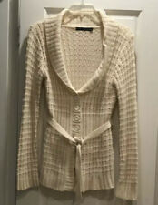Ivory Acrylic Belted Sweater