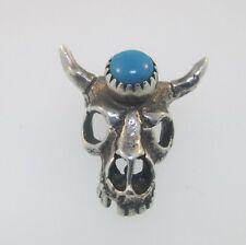 Bull Skull Charm Sterling Silver Vintage Turquoise