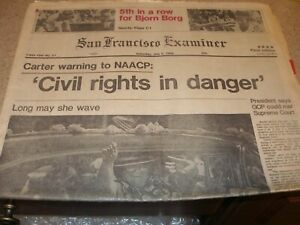 San Francisco Examiner 7/5/80 Front & Sports Sections Borg Beats Connors Giants