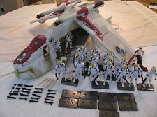 Star Wars Hasbro Complete REPUBLIC GUNSHIP 20 Clone Troopers Bases Extra Weapons