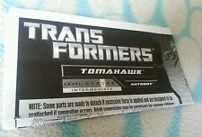 Transformers ROTF TOMAHAWK INSTRUCTION BOOKLET ONLY