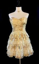 Strapless Mini Tiered Tulle Formal Dress in Champagne w/Gold Sequins, Size 3/4
