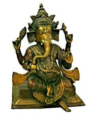Ganesh Ganesha Handmade Brass Figurine Statue Sculpture Figure Home Temple Decor