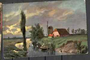 Postcard 0104 Vintage pre 1940 landscape boat art buildings mill