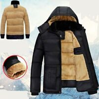 Men's Thick Hooded Cotton Padded Coat Brushed Fleeces Lined Outwear Winter Warm