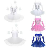 Girls Balet Dancer Dance Dress Kids Leotard Tutu Skiirt Swan Performance Costume