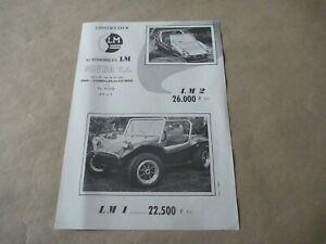 LM SOVRA 1 2 BUGGY VW Kit Car Catalogue Brochure Prospekt French
