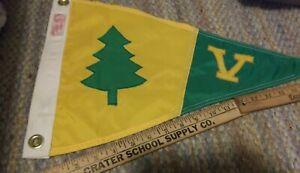 1950's Yacht Club Boat Ship Pennant Flag Burgee Yellow & Green Tree & V Oregon