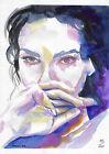 original painting A4 111FD art samovar watercolor modern femal portrait sketch