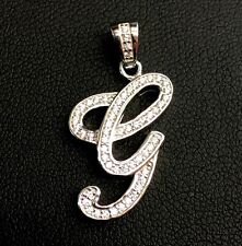 """NEW!! 925 Sterling Silver CZ Letter Initial """"G"""" Pendant Necklace"""