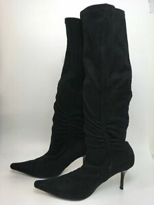 WOMENS CLARKS BLACK SUEDE PULL ON STRETCHY GATHERED SIDE KNEE HIGH BOOTS UK 6