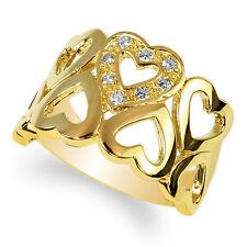 Hearts Band Ring Size 4-10 Jamesjenny 14K Yellow Gold Solid Beautiful