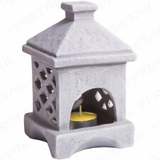 Ceramic Japanese Tea Light Candle Holder Grey Oriental Outdoor Garden Ornament