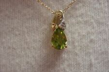 Vintage 10 kt Peridot and Diamond Tear Drop Pendant Necklace