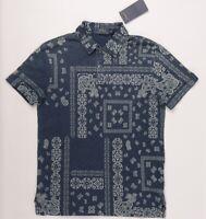 POLO RALPH LAUREN Men's Blue Printed Polo Shirt, size SMALL