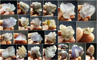 Fluorite Specimens Lot Natural Purple Blue Cubic Formation Crystals 1.7kg 24Pc