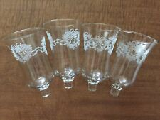 Set / 4 Embossed Heart Of Roses / Ribbon Peg Votive Cups Homco Home Interior