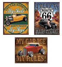Three Vintage Style Tin Signs - Route 66, Hot Rods, My Garage, Shop, Man Cave