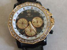 ICE STAR Brand New Gold Tone & Diamante, Leather Strap Overersize Wrist-Watch