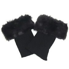 Women Winter Faux Fur Boot Topper Crochet Fluffy Soft Furry Cuffs Leg Warmers